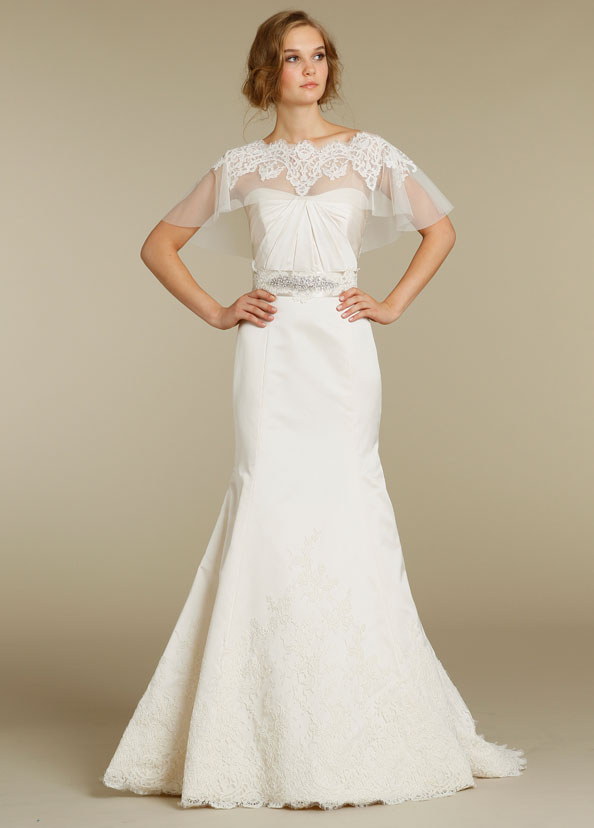 alvina valenta wedding dress, capelet wedding dress, jlm couture