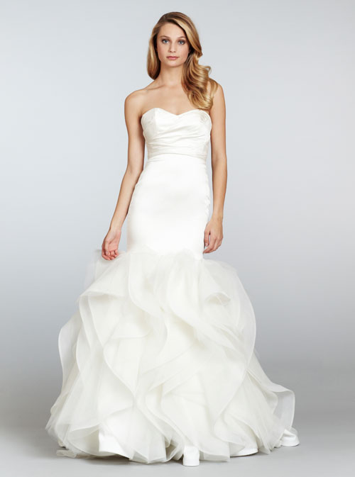 Bridal gowns wedding dresses by hayley paige style hp6302 for Satin fit and flare wedding dress