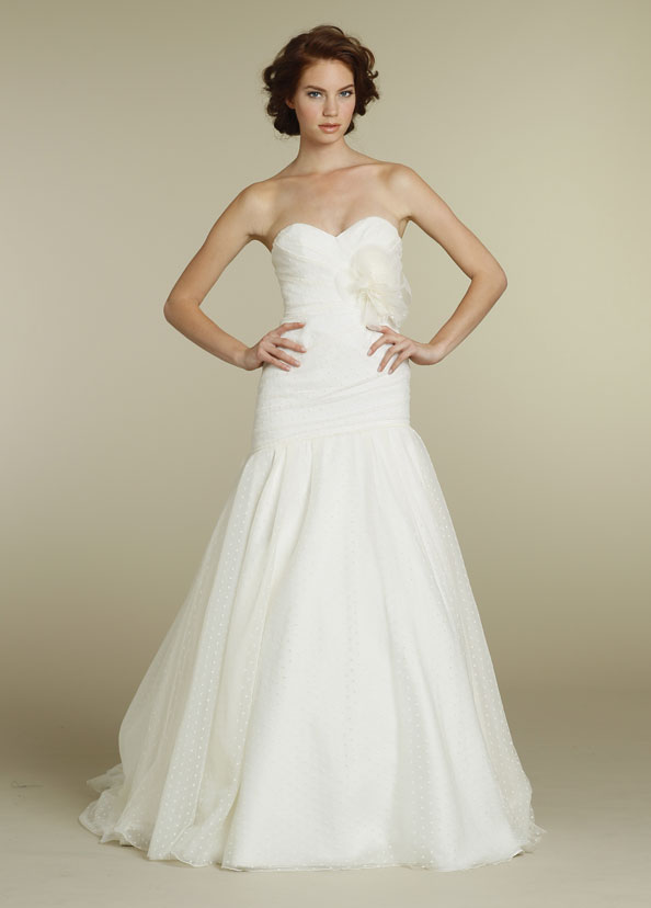 Please post pics any hayley paige brides for Dotted swiss wedding dress
