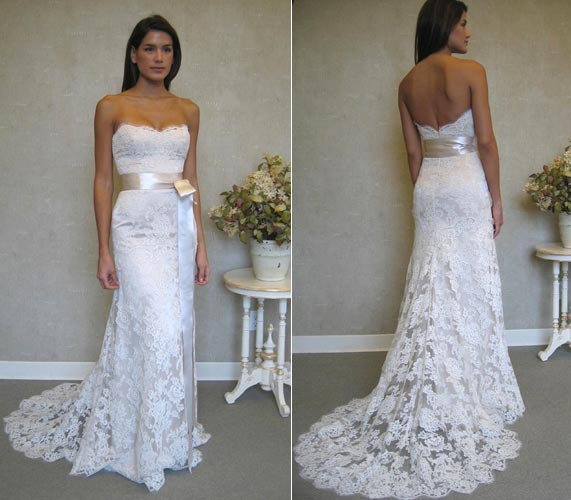 white strapless lace wedding gown