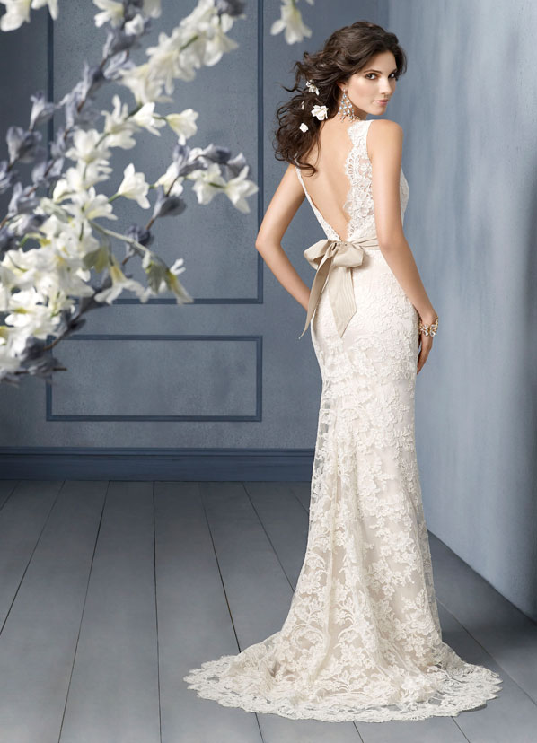 Ivory Alencon lace over Champagne Charmeuse modified Aline bridal gown