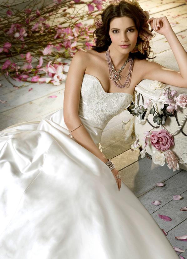 Aline bridal gown sweetheart neckline strapless Alencon lace corset