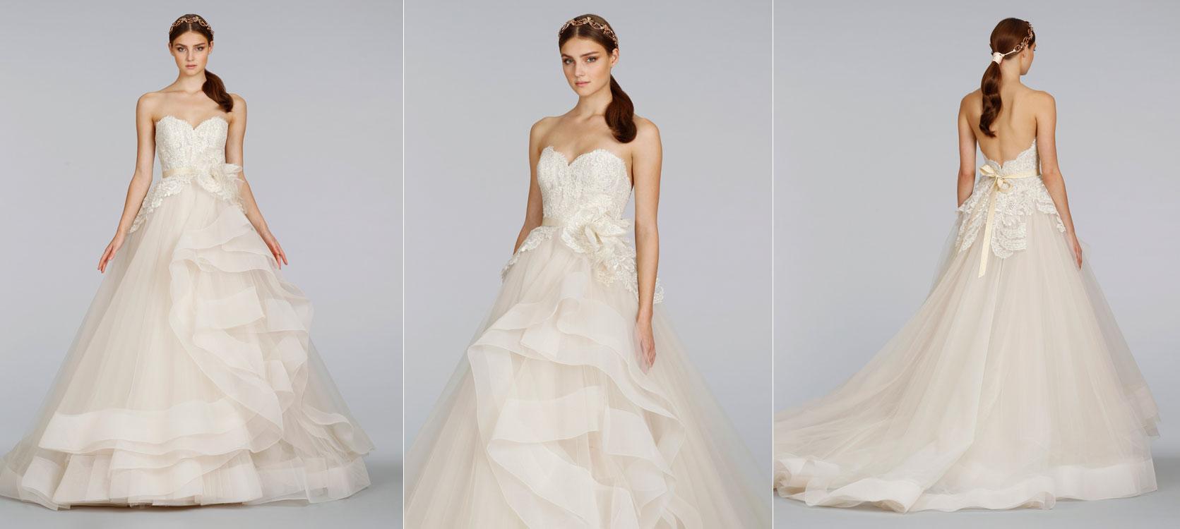 Bridal gowns wedding dresses by lazaro style lz3413 for Lazaro lace wedding dress
