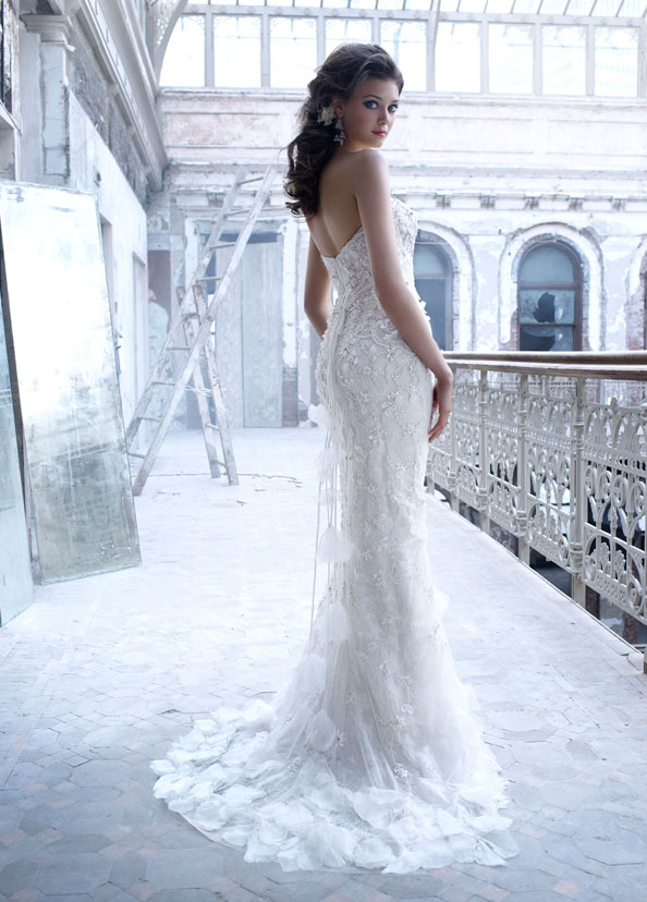 Strapless Wedding Dress With Lace Overlay