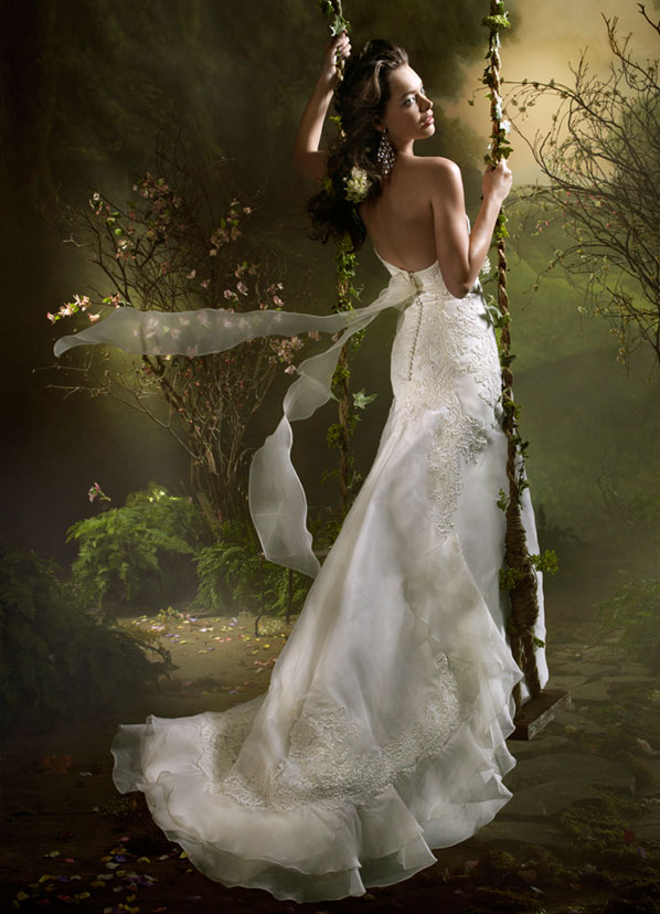Ivory Silk Organza strapless ALine bridal gown with Alencon Lace appliques