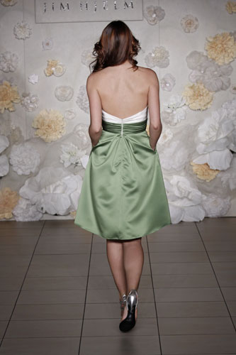 Apple satin strapless full Aline tealength bridesmaid dress Ivory bodice